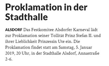 Proklamation in der Stadthalle